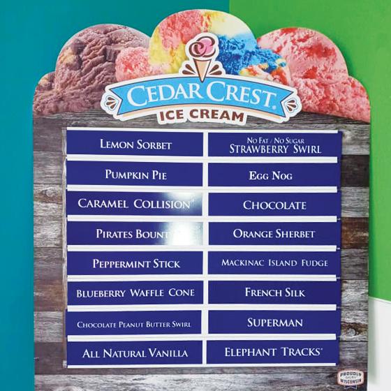 Current Cedar Crest Ice Cream Flavors at Sugar Shack.
